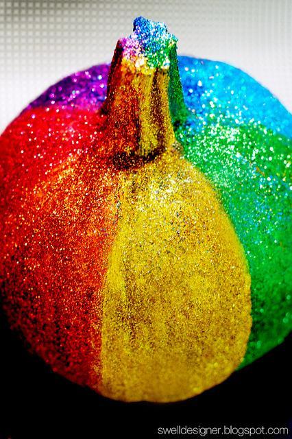 6 Rainbow Glitter Pumpkin