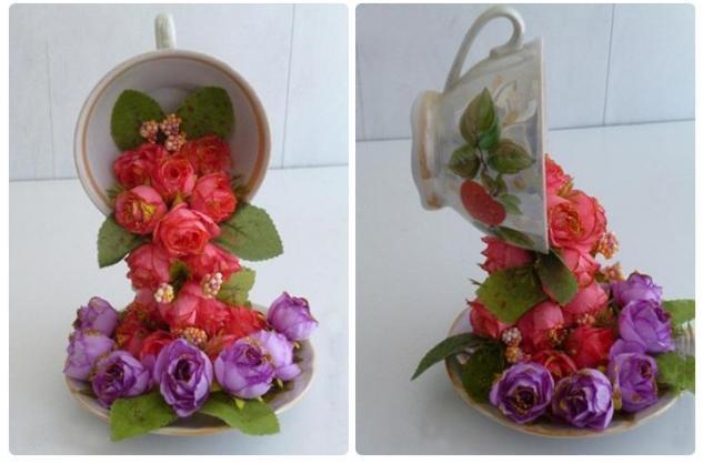 7 Flying Flower Teacups