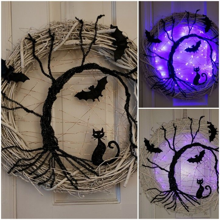 1 Spooky tree cat and bat Halloween wreath 2