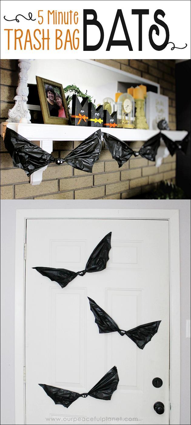 12 Trash Bag Bat Halloween Decorations