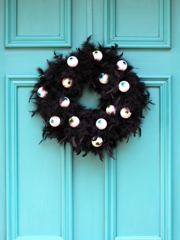 16 Wreath with Scary Googly Eyes