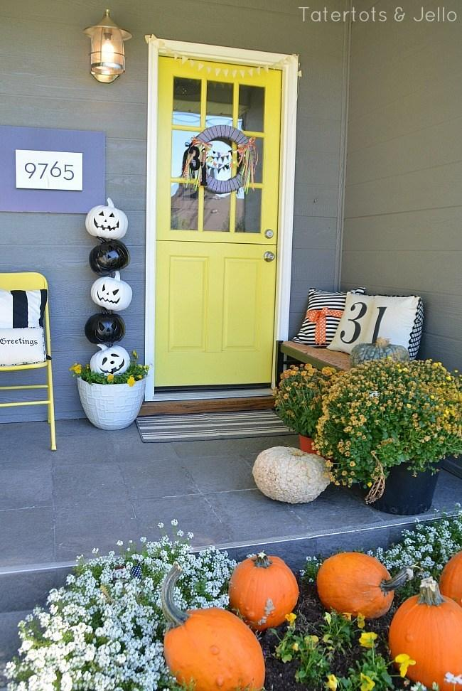 17 Stacked Pumpkin Topiary Porch
