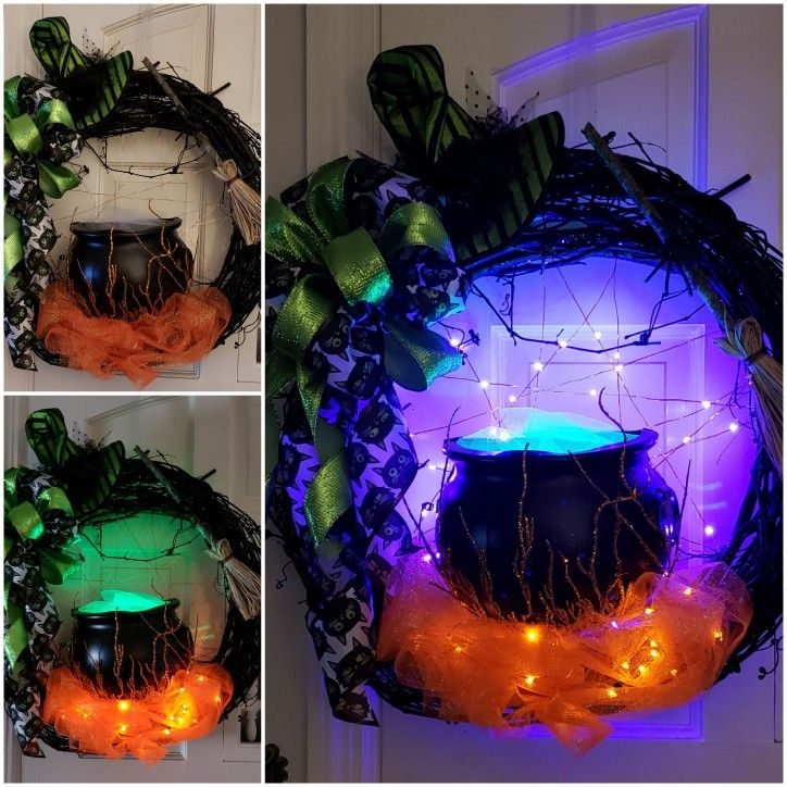2 Spooky witch cauldron lighted Halloween wreath