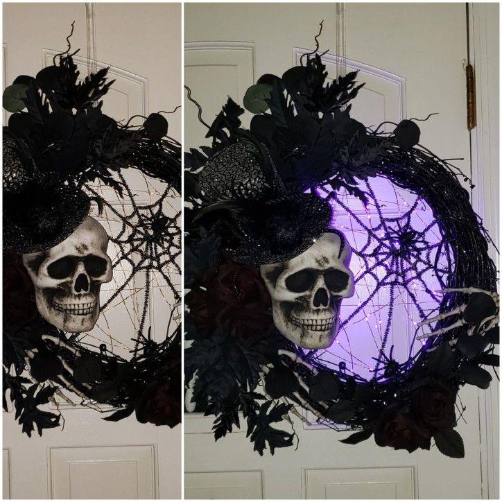 20 Skeleton spider spooky lighted wreath