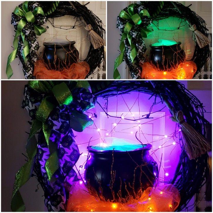 22 Spooky witch cauldron lighted Halloween wreath