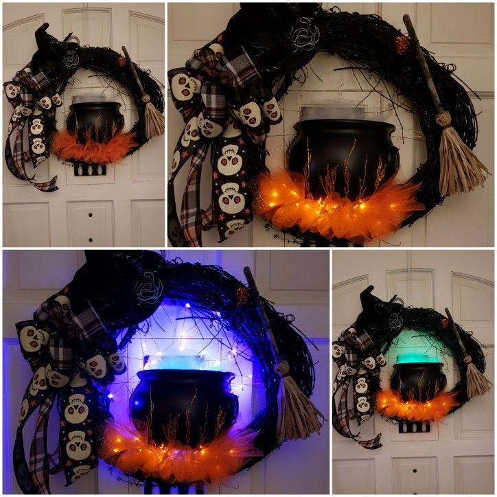 23 Spooky witch cauldren lighted Halloween wreath
