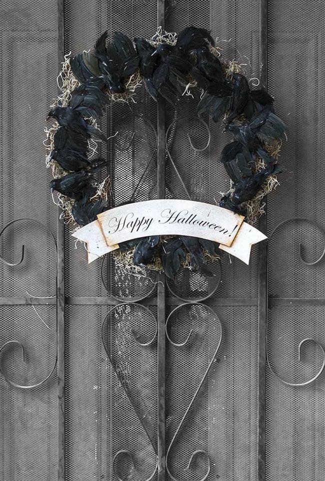 8 Black Crow Halloween Wreath