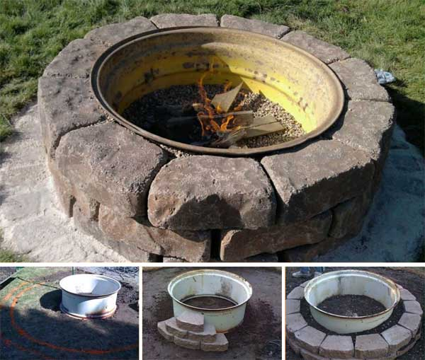 9 Old Steel Rim Fire Pit