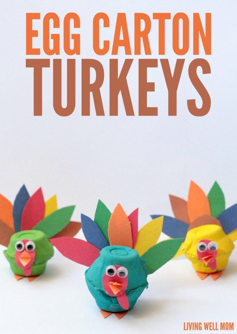 3 Egg Carton Turkeys Craft
