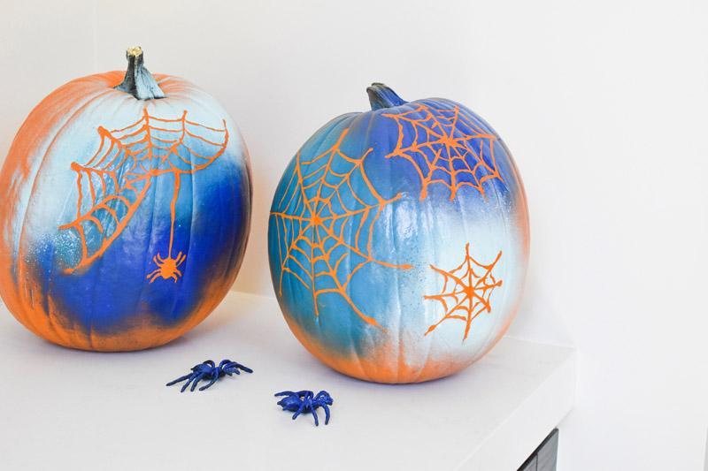 3 spiderweb pumpkins