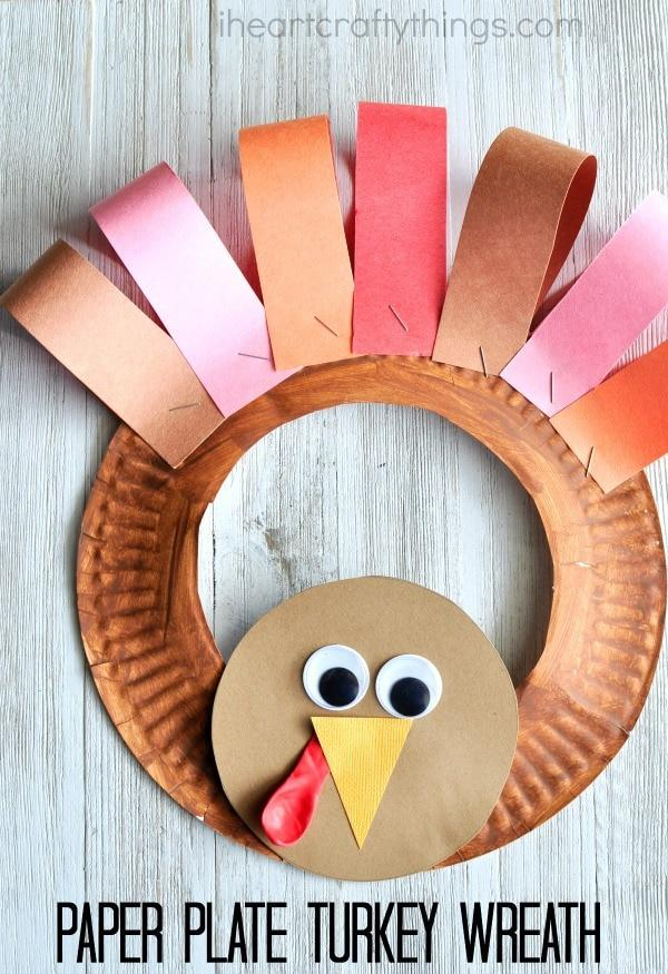 4 PAPER PLATE THANKSGIVING TURKEY WREATH