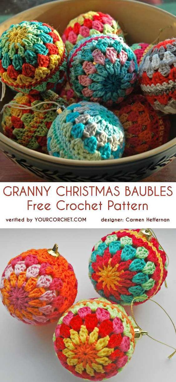 1 Christmas Baubles Free Crochet Pattern