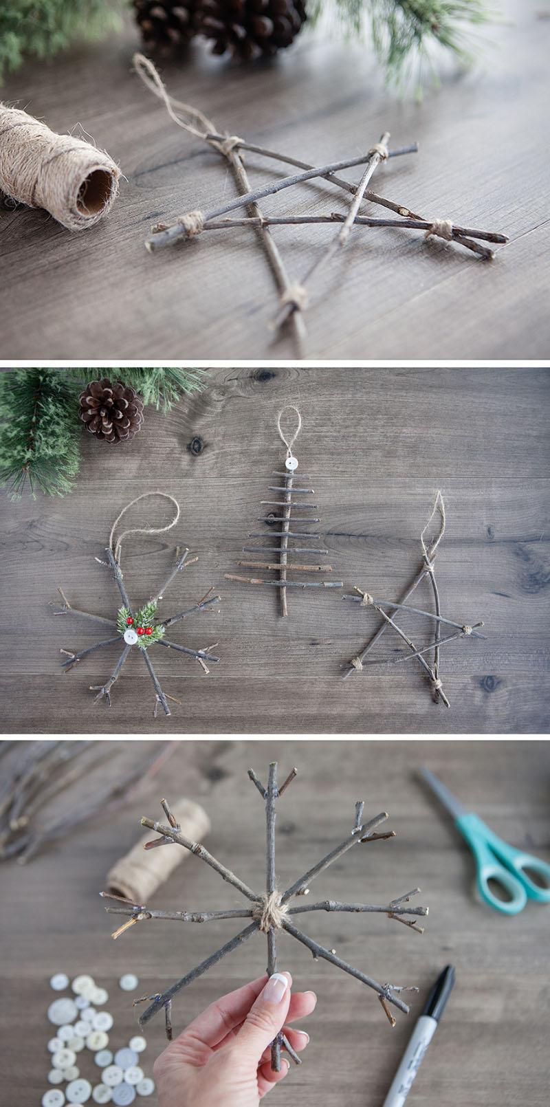 1 Rustic Twig Christmas Ornaments