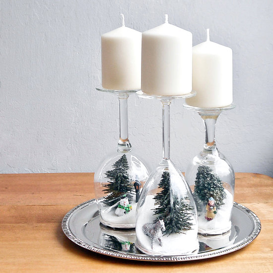 1 Wine Glass Dollar-Store Holiday Dioramas