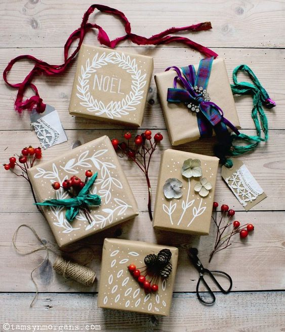 17 DIY Christmas Brown Paper Gift Wrap