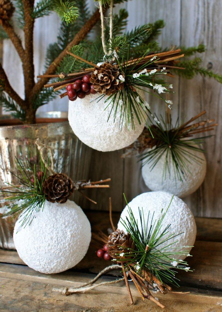 2 Snowballs Christmas Ornaments