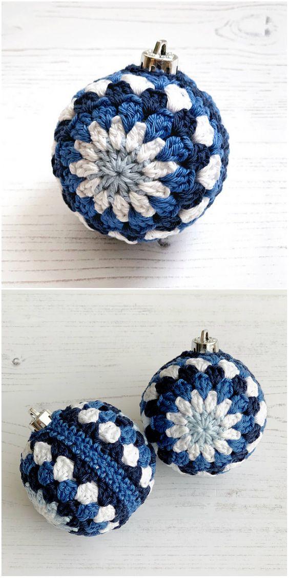 3 Christmas Granny Baubles Crochet