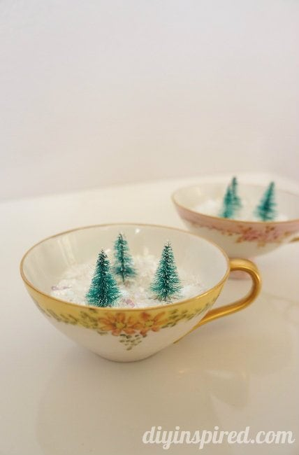 34 Mini Winter Forest in Vintage Tea Cups