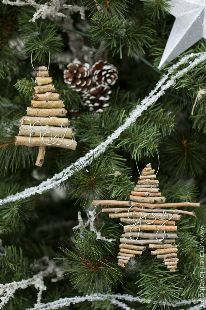 4 DIY Twig and Wire Christmas Ornaments