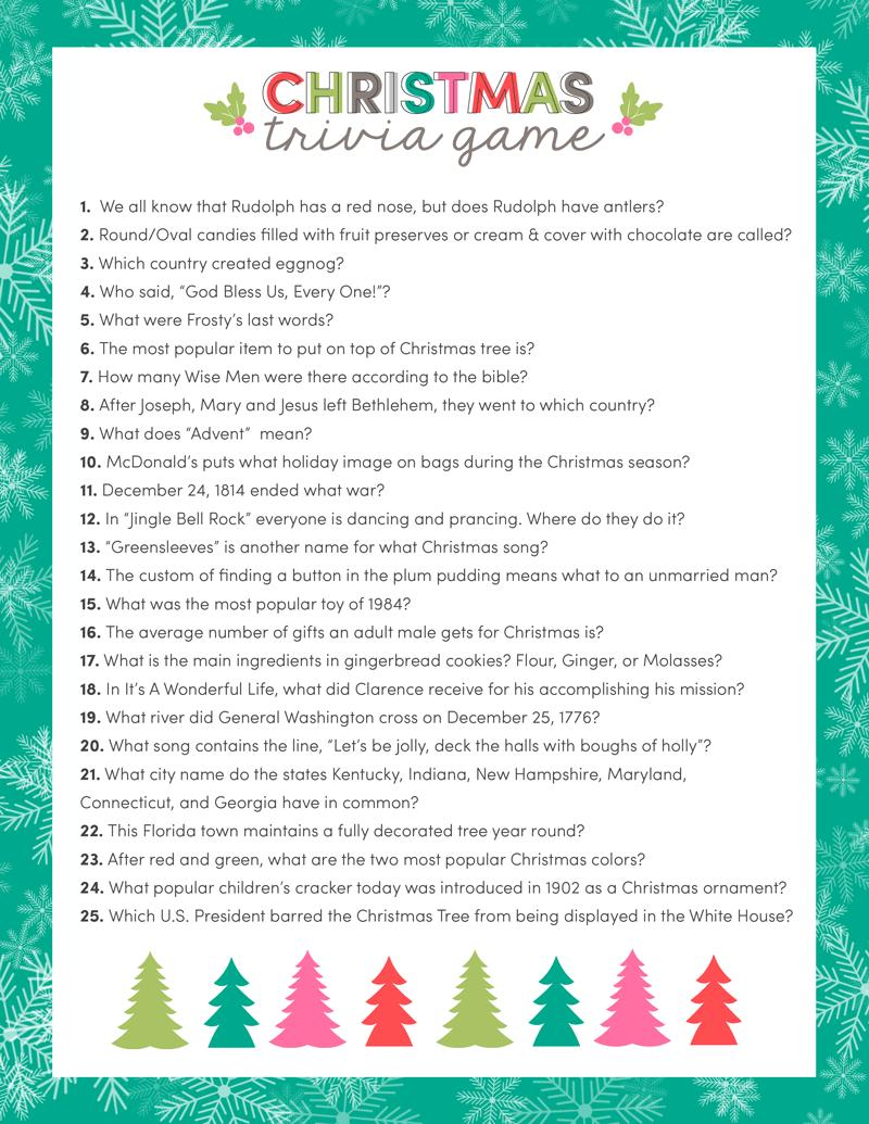 4 FREE CHRISTMAS TRIVIA GAME