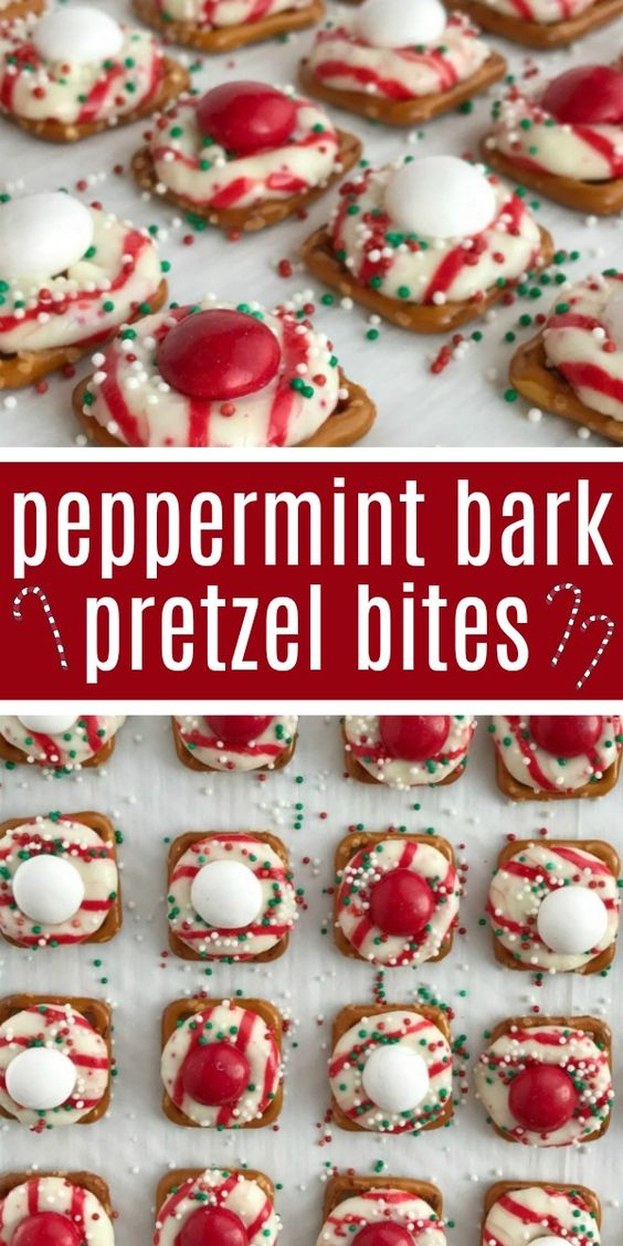 42 Peppermint Bark Pretzel Bites
