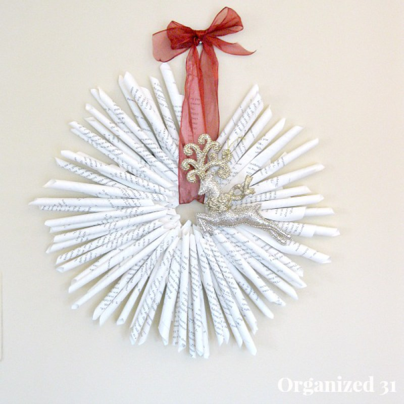 45 Book Page Christmas Wreath