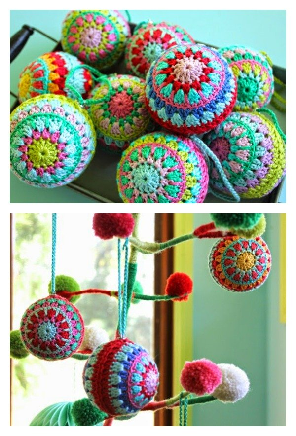 5 Crochet Christmas Baubles