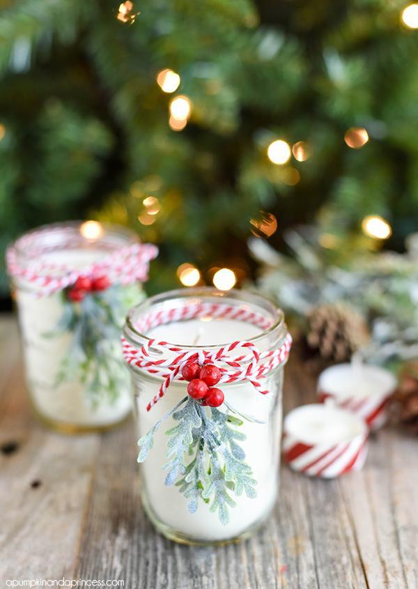 6 Peppermint Mason Jar Candles
