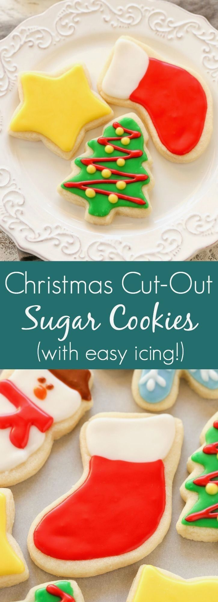 8 Christmas Cut-Out Sugar Cookies