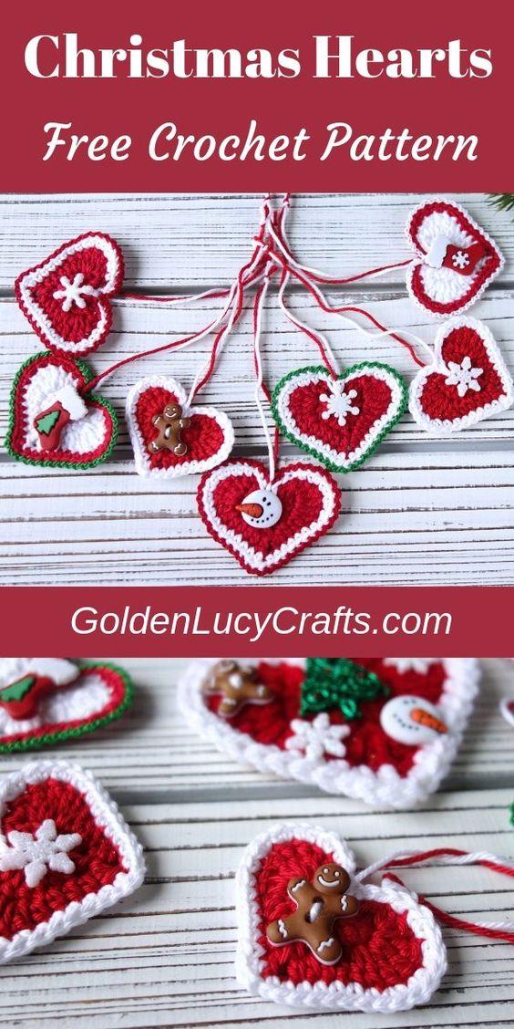 18 Crochet Heart Christmas Ornament