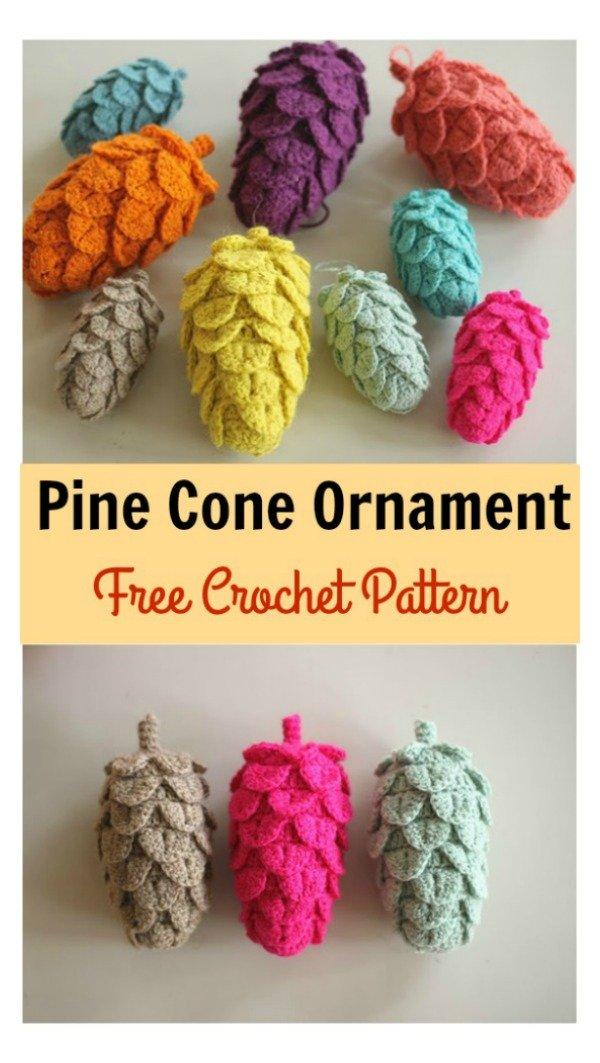 19 DIY Crochet pine cones