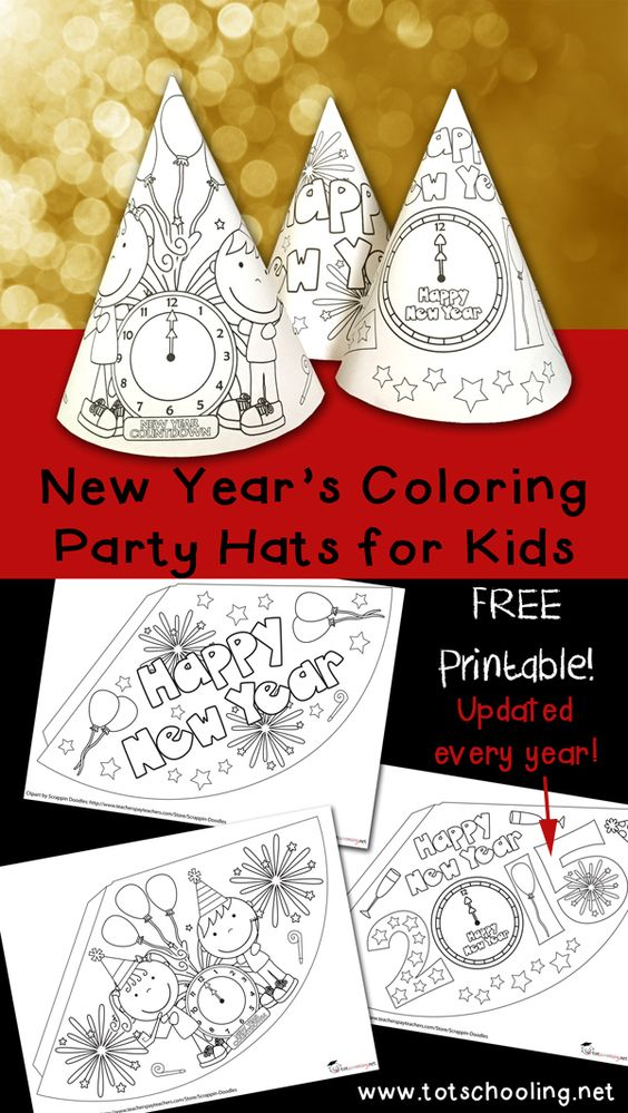 2 New Year's Coloring Party Hats