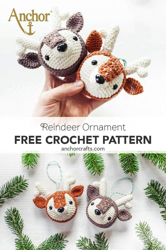 20 Reindeer Ornament Free Crochet Pattern
