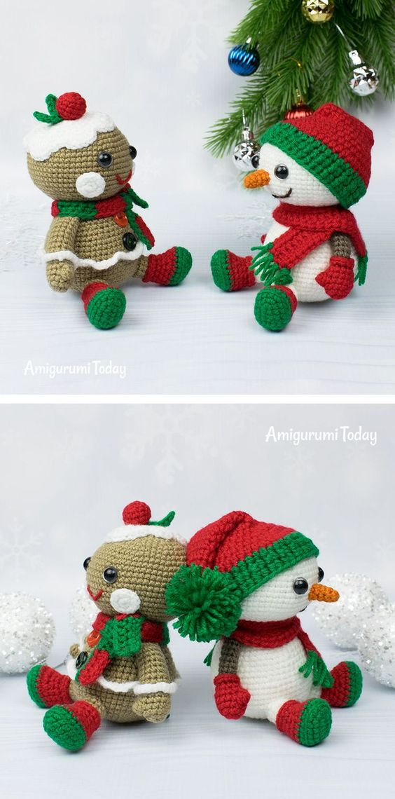 25 Snowman and Gingerbread Free crochet patterns