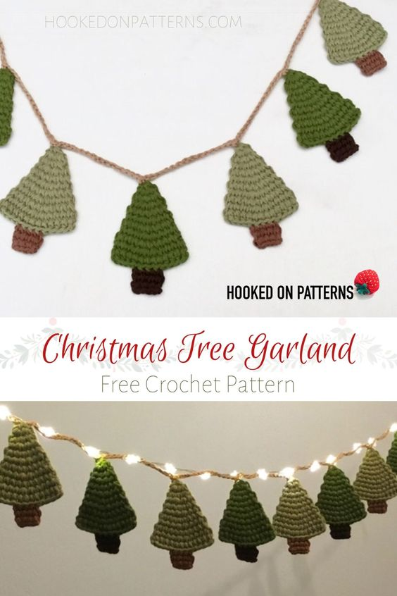 32 CROCHET CHRISTMAS TREE GARLAND