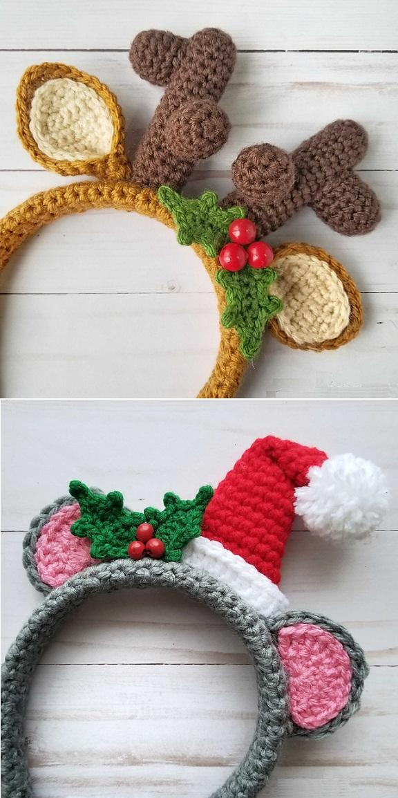 33 Crochet Holiday Mouse and Festive Reindeer Headbands