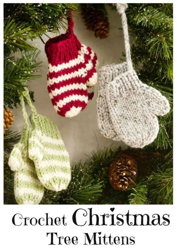 34 Crochet Christmas Tree Mittens