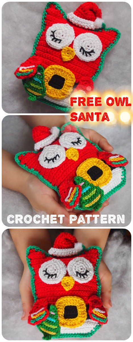 4 Free Crochet Pattern Owl Santa Claus