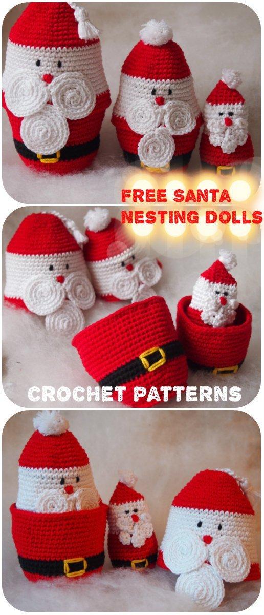 5 Santa Claus Nesting Dolls Free crochet pattern