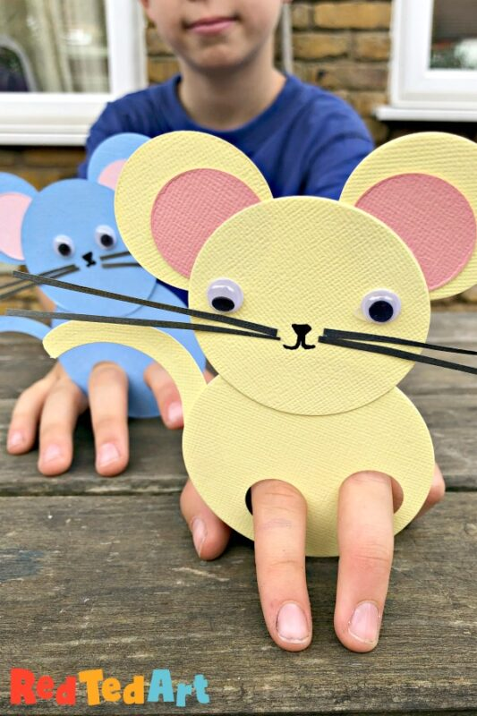 11 Paper Mice Finger Puppets