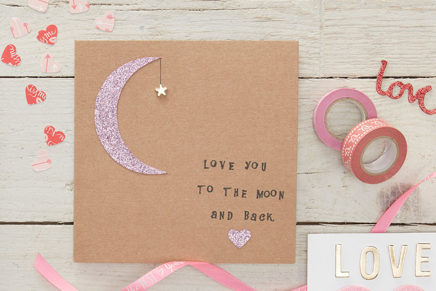 12 Moon and Star Valentines Card