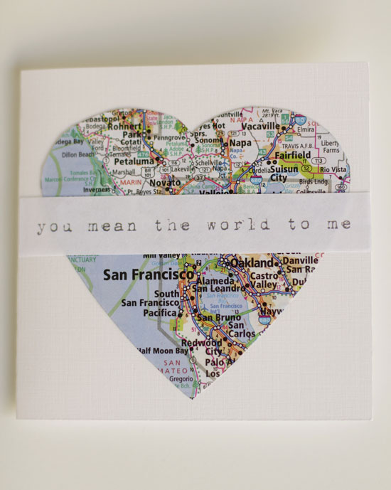 2 Map Valentines Card