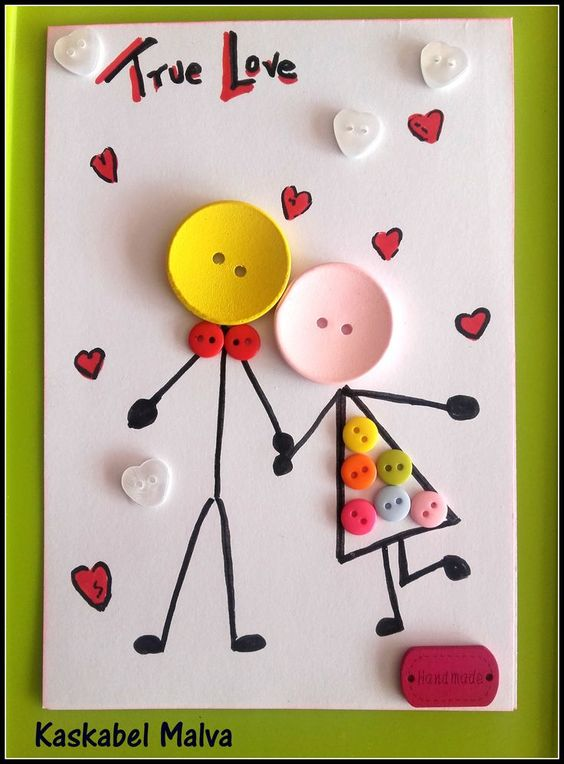 33 True Love Buttons Couple Card