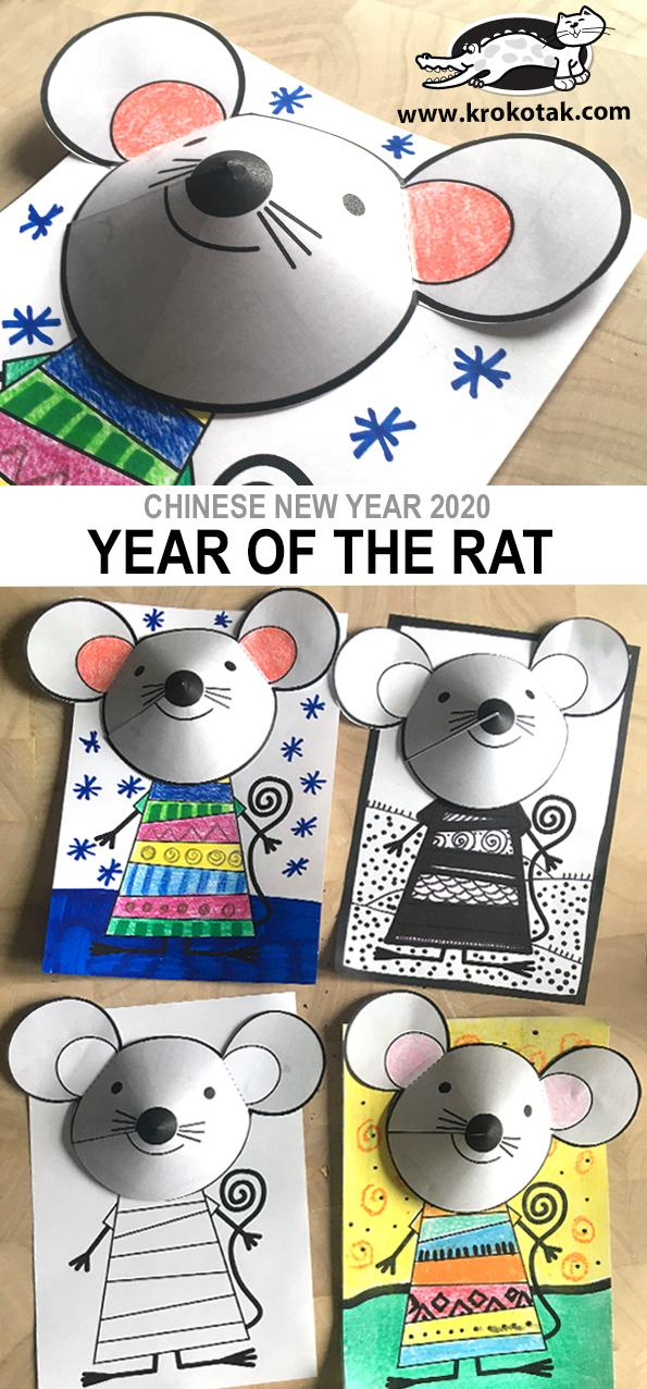 6 Chinese New Year 3D Rat Craft