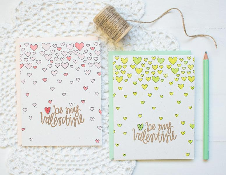6 Falling Hearts Valentines Card