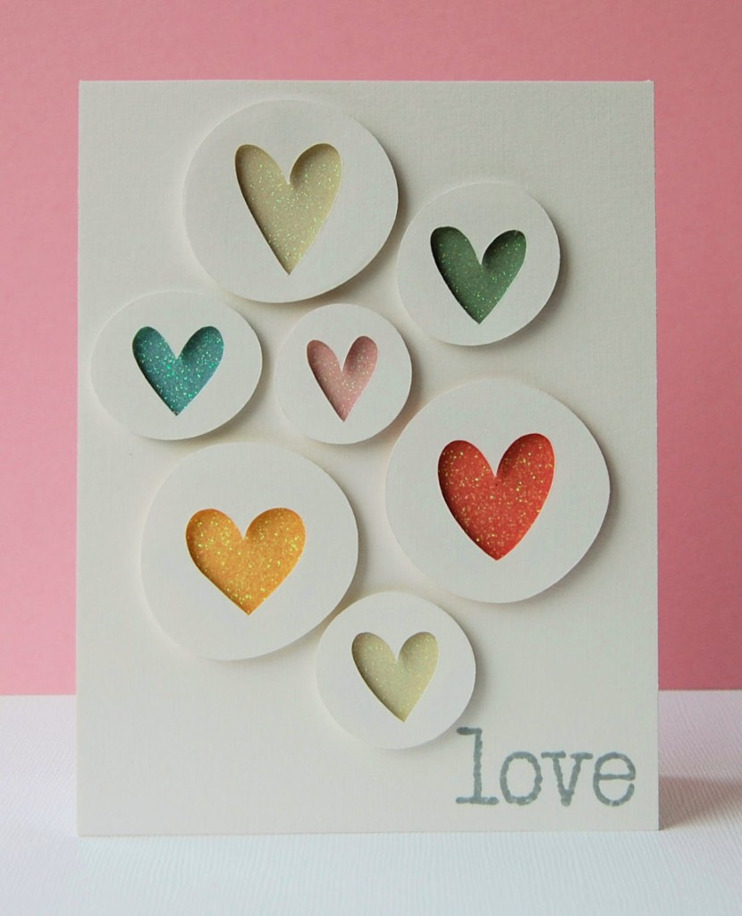 7 Heart Silhouettes Valentines Card