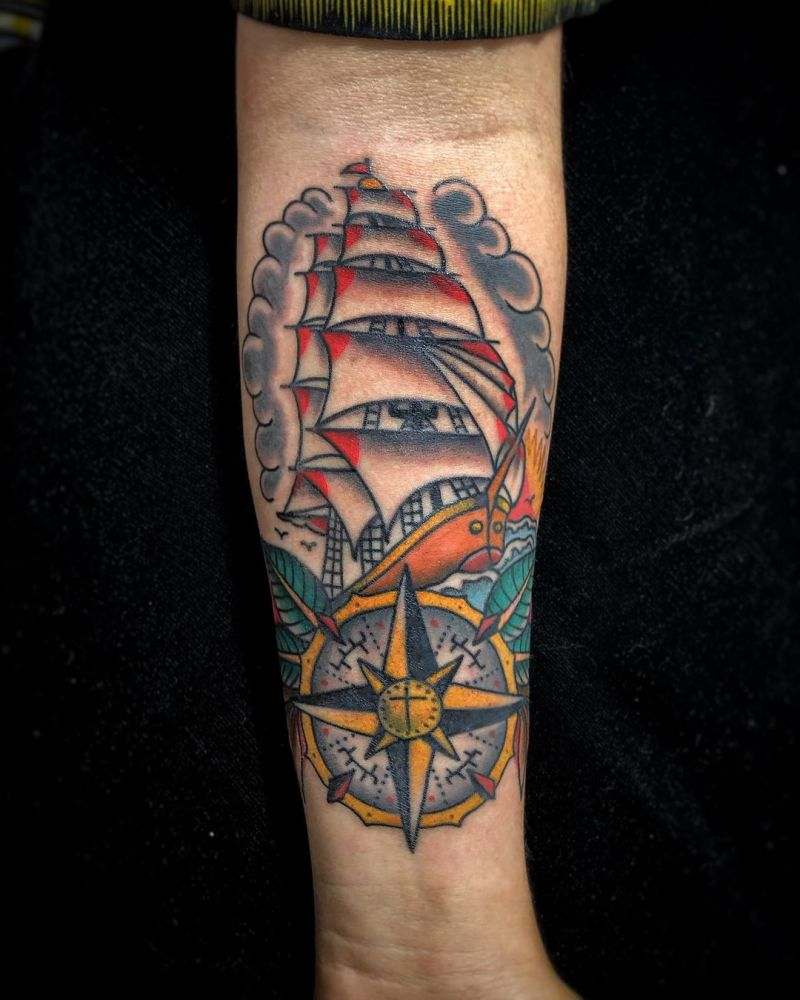 30 Ship Tattoos Inspire You to Go Straight Ahead