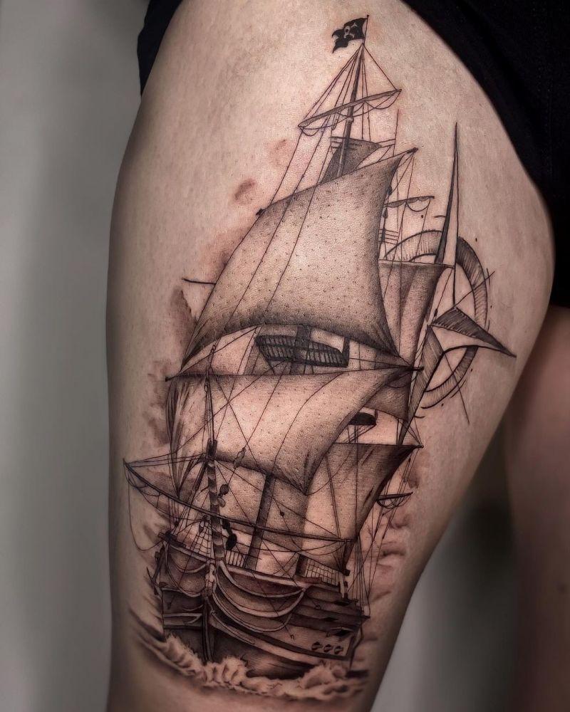 30 Ship Tattoos Inspire You to Go Straight Ahead