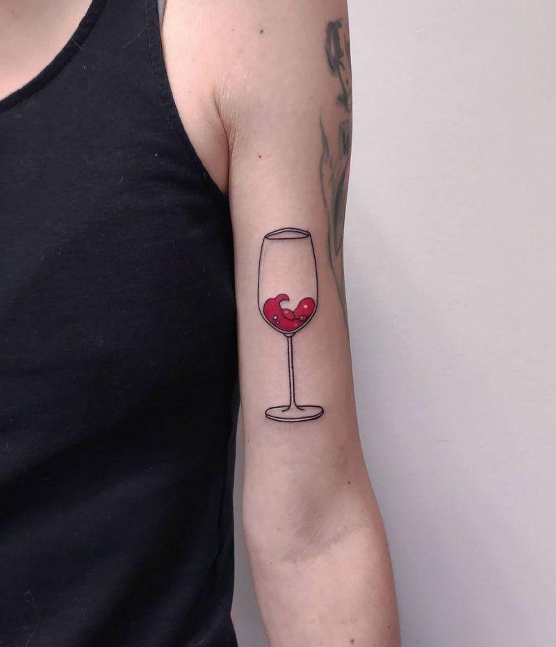 30 Pretty Wine Glass Tattoos You Will Love