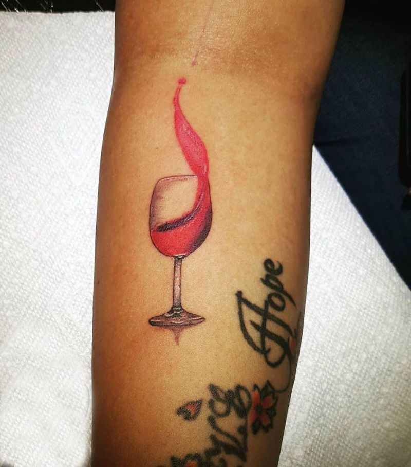 30 Pretty Wine Glass Tattoos You Will Love